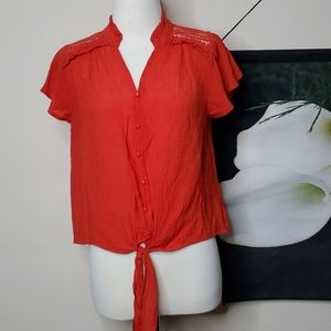 E & M Tie Flutter Sleeve Front Button Accent Top